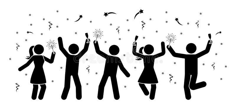 Män och kvinnor klibbar diagram som firar nattsymbolen för det nya året Fyrverkeri som är slingrande, tomteblosspictogram royaltyfri illustrationer