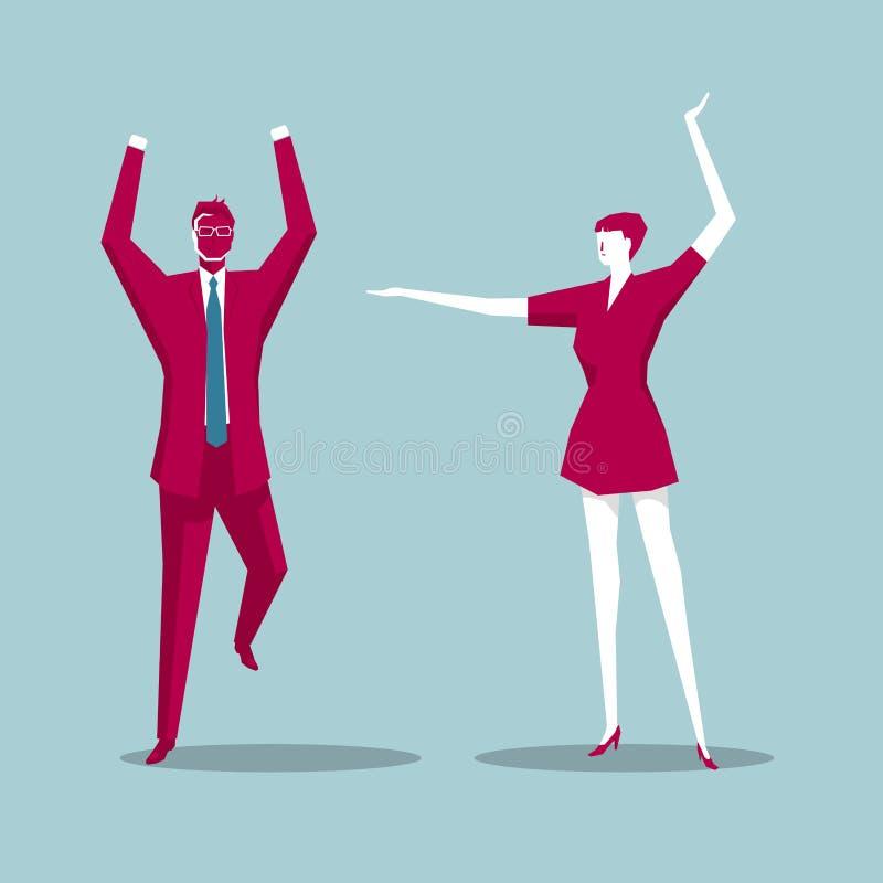 Män och kvinnor som dansade sällskapsdans vektor illustrationer