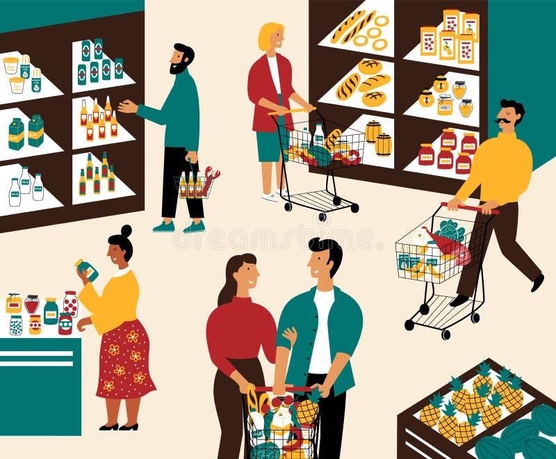 Män och kvinnor som köper produkter på livsmedelsbutiken Folk med shoppingvagnar på supermarket Kunder i detaljhandel shoppar stock illustrationer