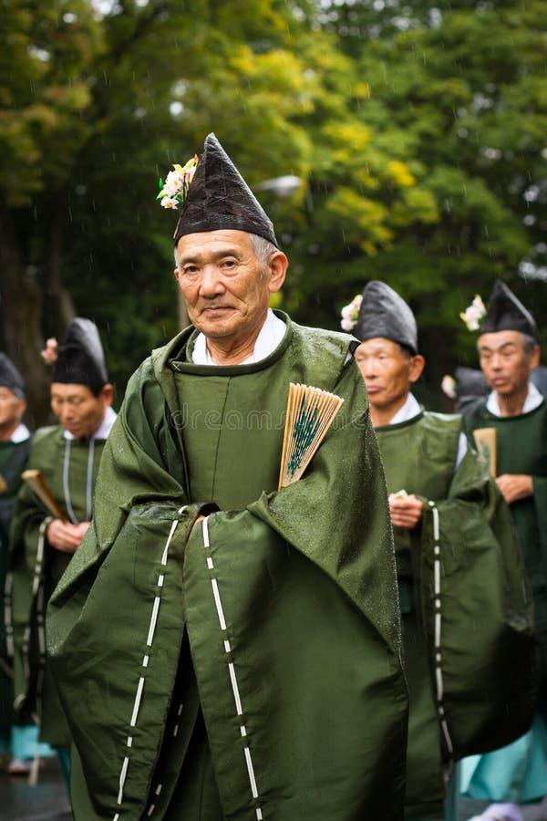 Män på den Jidai Matsuri festivalen fotografering för bildbyråer