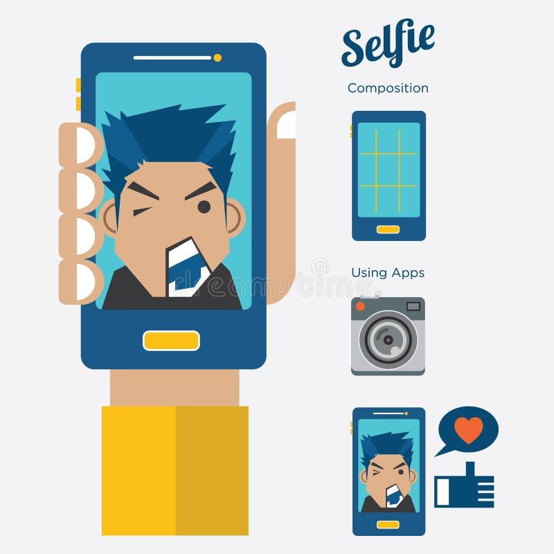 Män Selfie: Ta en självstående med den smarta telefonen, vektor vektor illustrationer