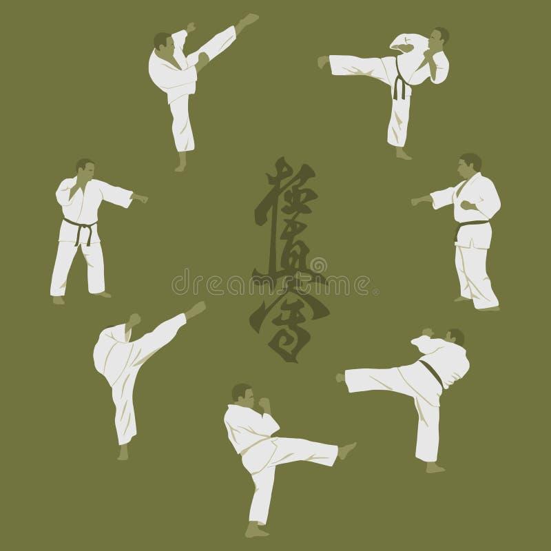 män som är förlovade i karate vektor illustrationer