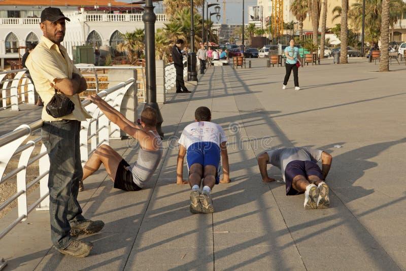 Män som övar, Beirut royaltyfria foton