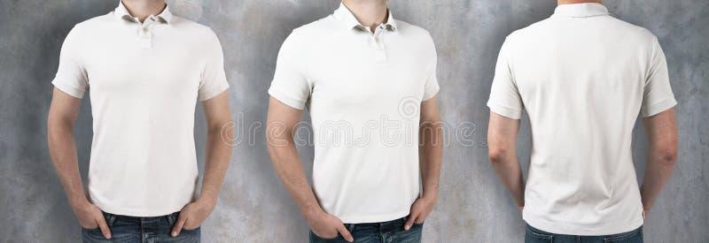 Män som bär den tomma vita skjortan royaltyfri fotografi