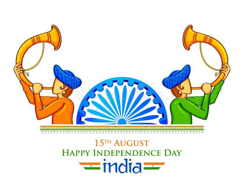 Män som blåser horn- visande välkomnande för tutari på Indien bakgrund för lycklig självständighetsdagen av Indien stock illustrationer