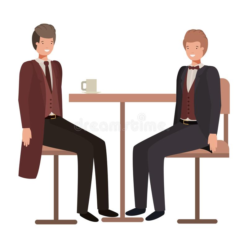 Män som dricker kaffe i matsalen stock illustrationer