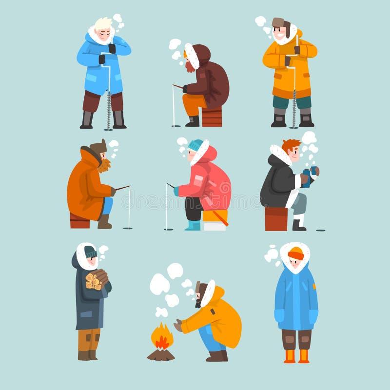 Män som fiskar i en djupfryst flod eller sjö i vinterkläduppsättningen, extremal isvinterfiske, vektor för utomhus- aktivitet stock illustrationer
