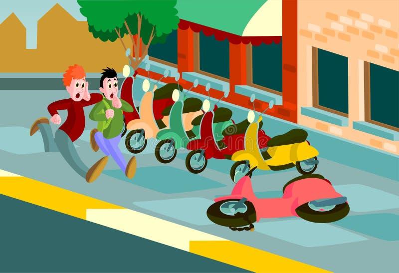 Män som körs till den stupade sparkcykeln stock illustrationer
