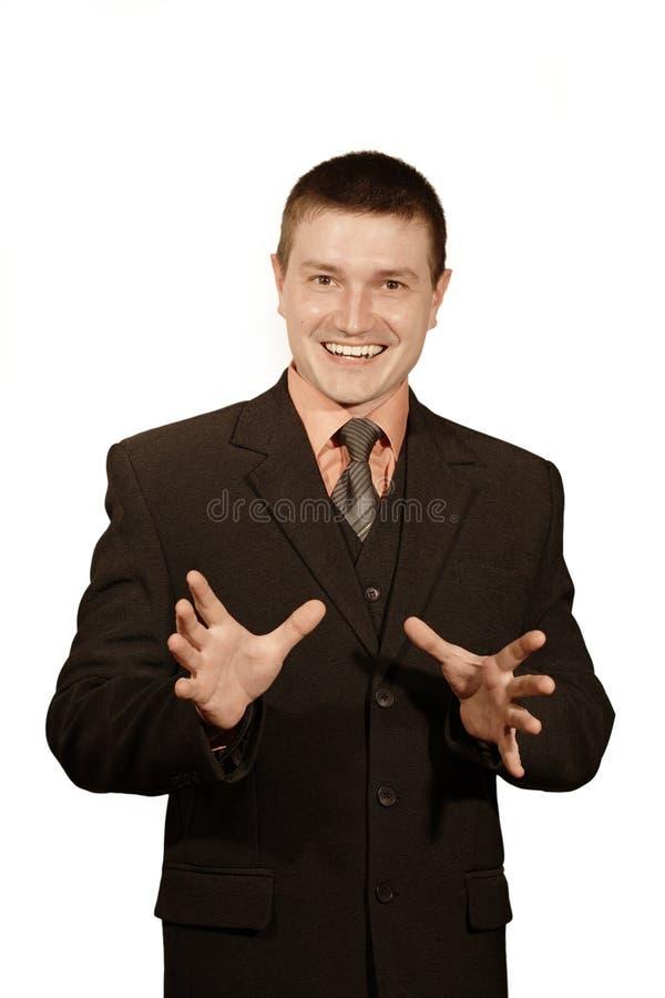 män som ler dräkten royaltyfri fotografi