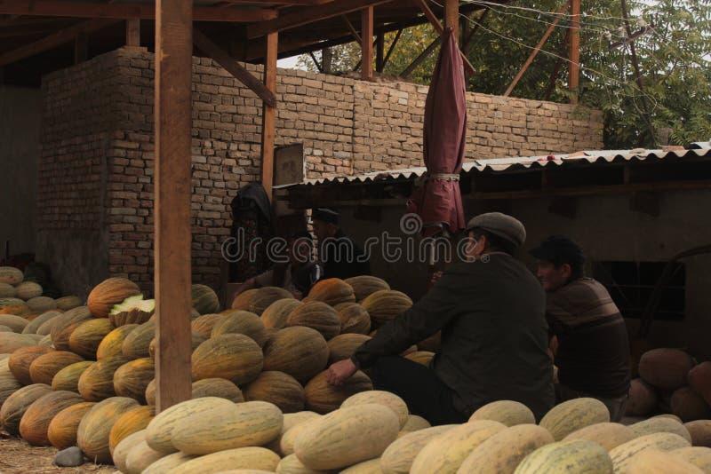 Män som säljer melon arkivfoton