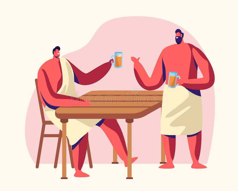 Män som sitter i ånga, hyr rum dricka björnen Bastu och tillv?gag?ngss?tt f?r Spa vatten Avkoppling kroppomsorgterapi, träbad royaltyfri illustrationer