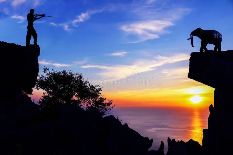 Män som skjuter elefanter på berget royaltyfri foto