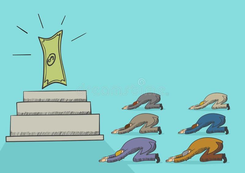 Män som tillber pengar stock illustrationer