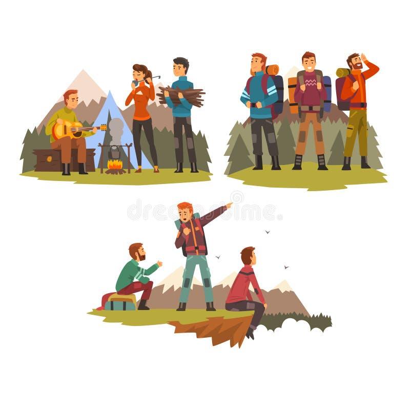 Män som tillsammans reser, campa folk, turister som fotvandrar i berg, fotvandringtur eller expeditionvektor vektor illustrationer