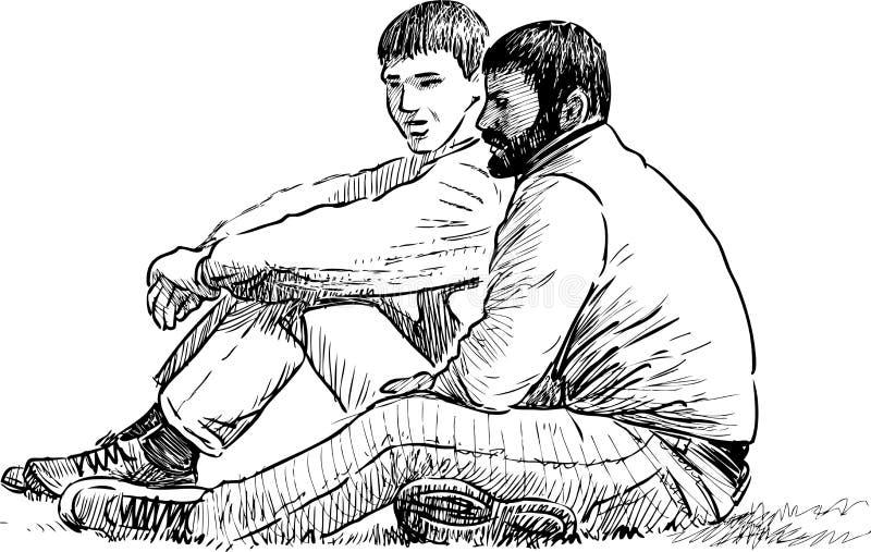 Män som vilar på ett parkeragräs royaltyfri illustrationer
