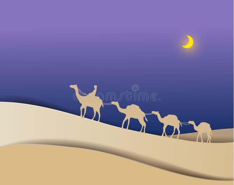 Män tar kamel över öknen på PA för nattpapperskonst vektor illustrationer