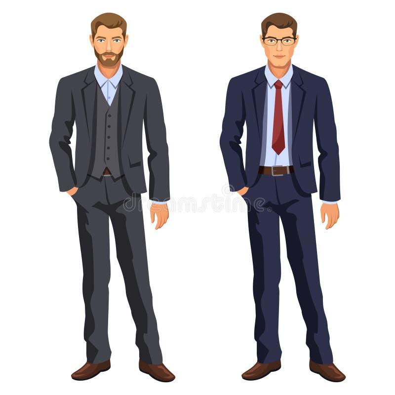 män två dräkt för affärsman Elegant ung tecknad filmaffärsman stock illustrationer