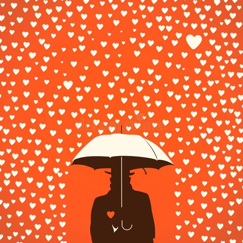Män under paraplyet på regniga hjärtaformer royaltyfri illustrationer