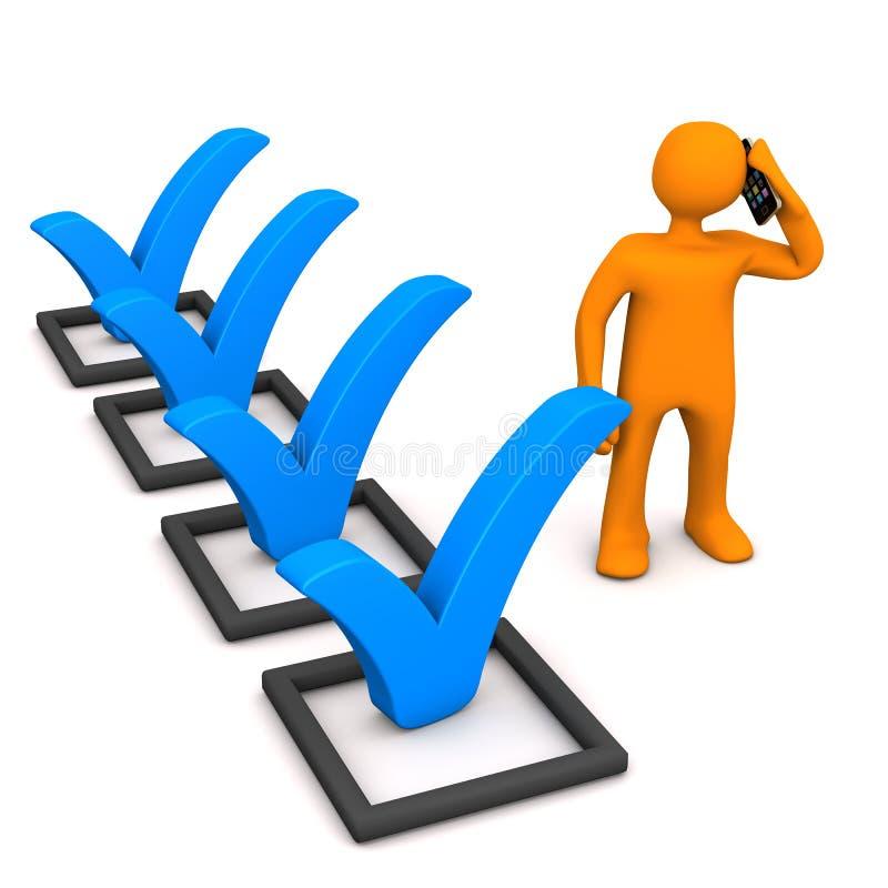 Männchen-Checkliste Smartphone stock abbildung