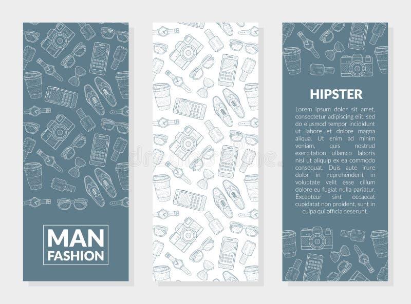 Männer arbeiten, die Hippie-Fahnen-Schablonen um, die mit Platz für Ihren Text eingestellt werden und Herr-Zusätze übergeben gezo lizenzfreie abbildung