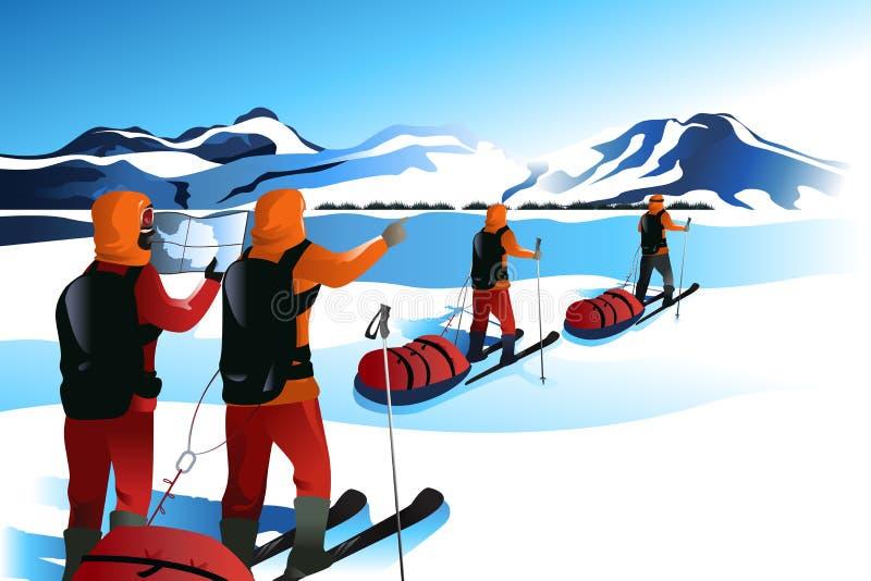 Männer auf einer Expedition zu einem Berg stock abbildung