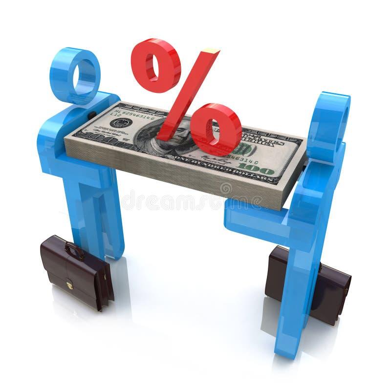 Männer 3d tragen Geld und Prozentsatz vektor abbildung