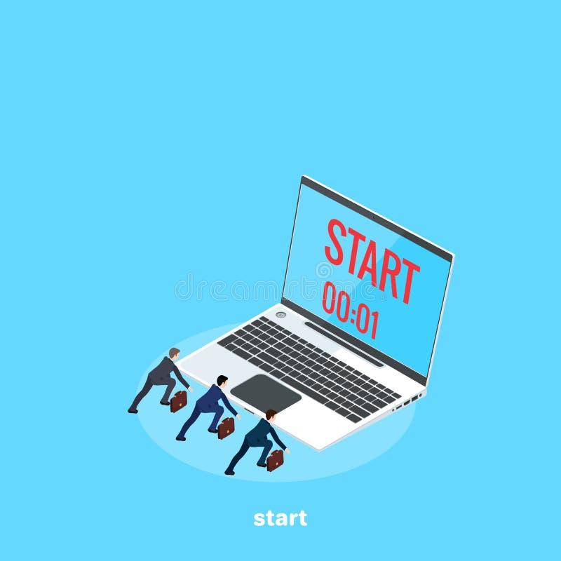 Männer in den Anzügen vorbereitet für den Anfang des Rennens, ein Laptop mit der Zeit, die bis den Anfang bleibt vektor abbildung