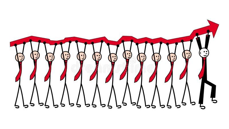 12 Männer in den Bindungen tragen einen roten Pfeil, eine Wachstumstabelle Voran in einem schwarzen Anzug ist der Führer metapher vektor abbildung
