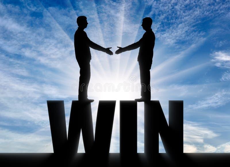 Männer des Schattenbildes zwei werden die Hände rütteln und stehen auf dem Wortgewinn lizenzfreie abbildung