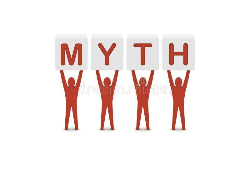 Männer, die das Wort MYTHOS halten. stock abbildung