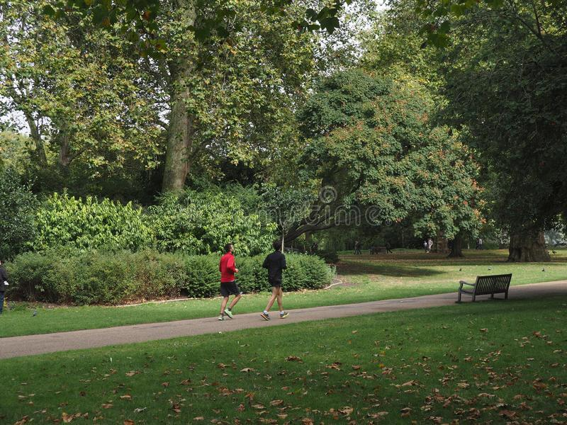 Männer, die in einen Park laufen stockbild