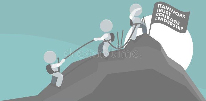 Männer, die Gebirgsgipfel-Teamwork-Abbildung steigen vektor abbildung