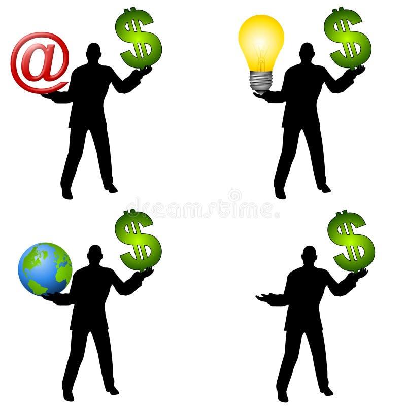 Männer, die Geld und andere Felder anhalten lizenzfreie abbildung