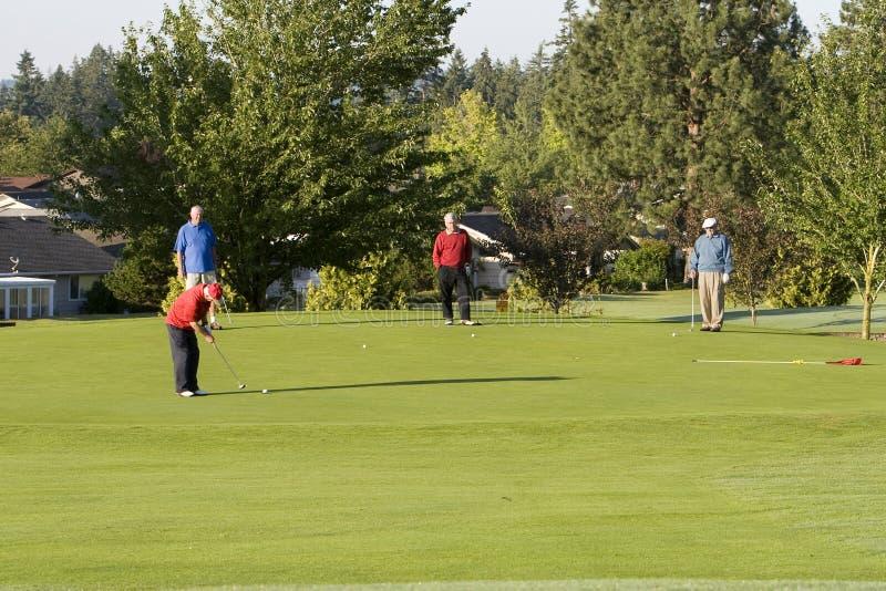 Männer, die Golf auf Kurs spielen lizenzfreie stockfotografie