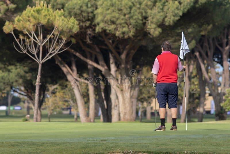 Männer, die Golf an sonnigem Tag Màlagas spielen lizenzfreie stockfotos