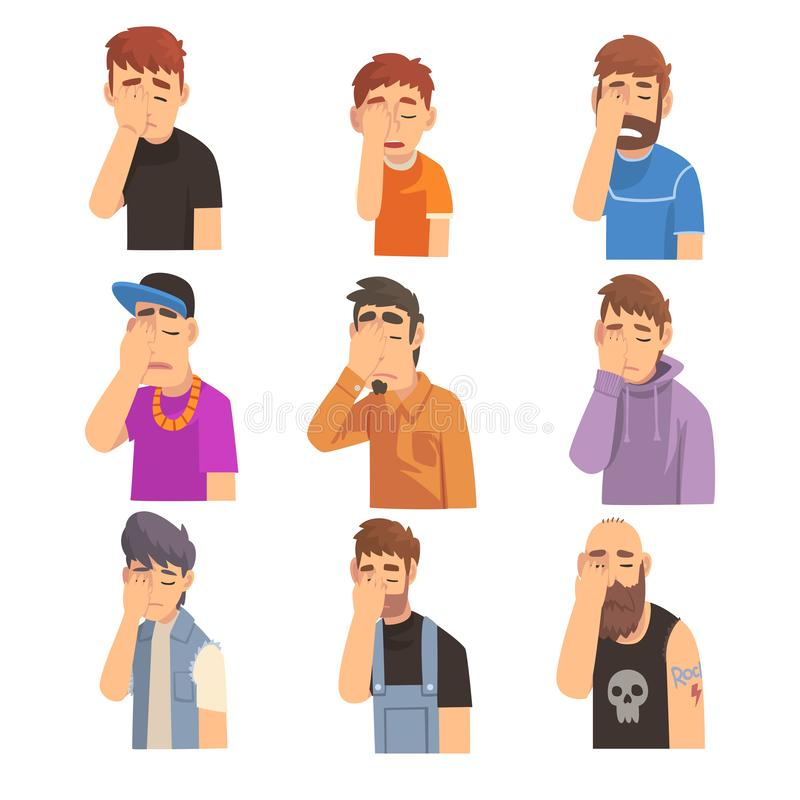 Männer, die ihr Gesicht mit den Händen eingestellt, Leute machen Facepalm-Gesten, Schande, Kopfschmerzen, Enttäuschung, Negativ b vektor abbildung