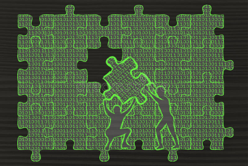 Männer, die Stück des Puzzlespiels mit binär Code anheben, um einen Abstand zu füllen vektor abbildung