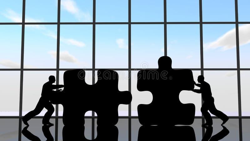Männer, die Stücke des Puzzlespiels drücken, um sie zusammenzubauen stock abbildung