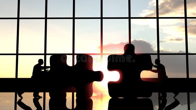Männer, die Stücke des Puzzlespiels drücken, um sie zusammenzubauen lizenzfreie abbildung