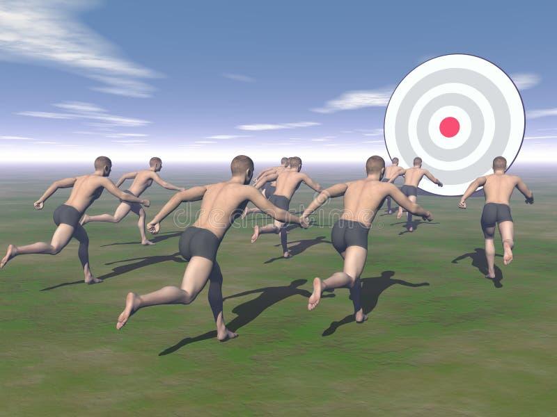 Männer, die zu einem Ziel laufen - 3D übertragen vektor abbildung