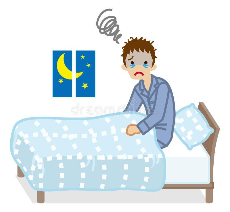 Männer erleidet hellblaues Bettzeug Farbe der Schlaflosigkeit vektor abbildung