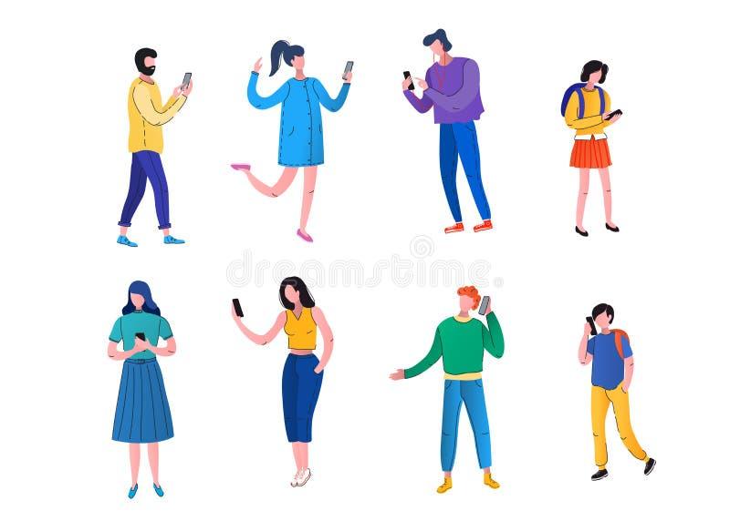 Männer, Frauen, Jugendliche benutzen Handys Leute halten Telefon, um Mitteilungen, selfies und Anrufe zu lesen Vektor, flach lizenzfreie abbildung