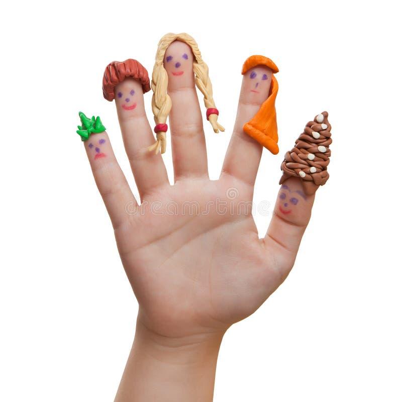 Männer gezeichnet auf die Finger mit dem Plasticinehaar lizenzfreies stockfoto
