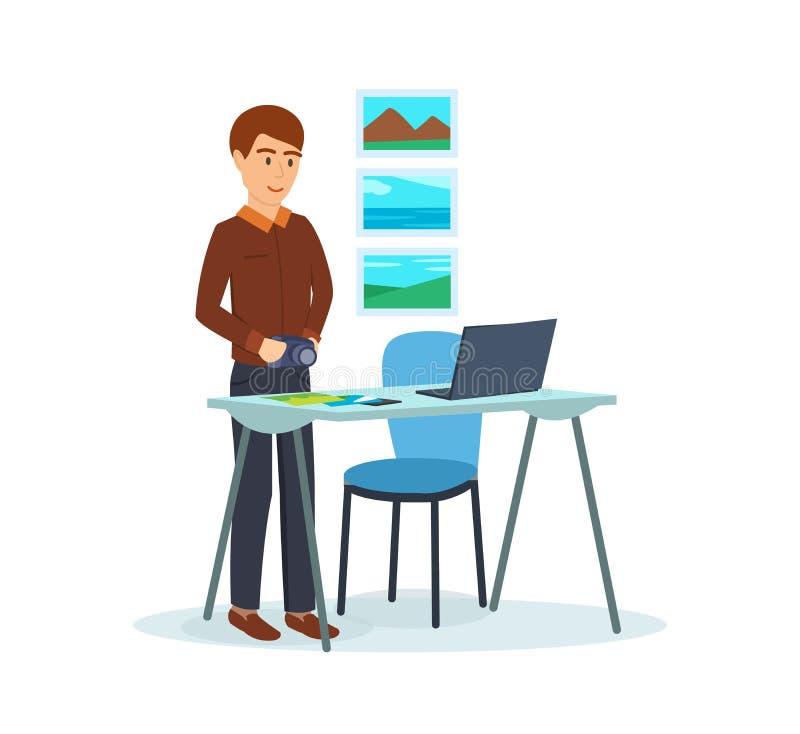 Männer im Büro, arbeitend an seinem Laptop, sortierend, stellen Fotos her lizenzfreie abbildung