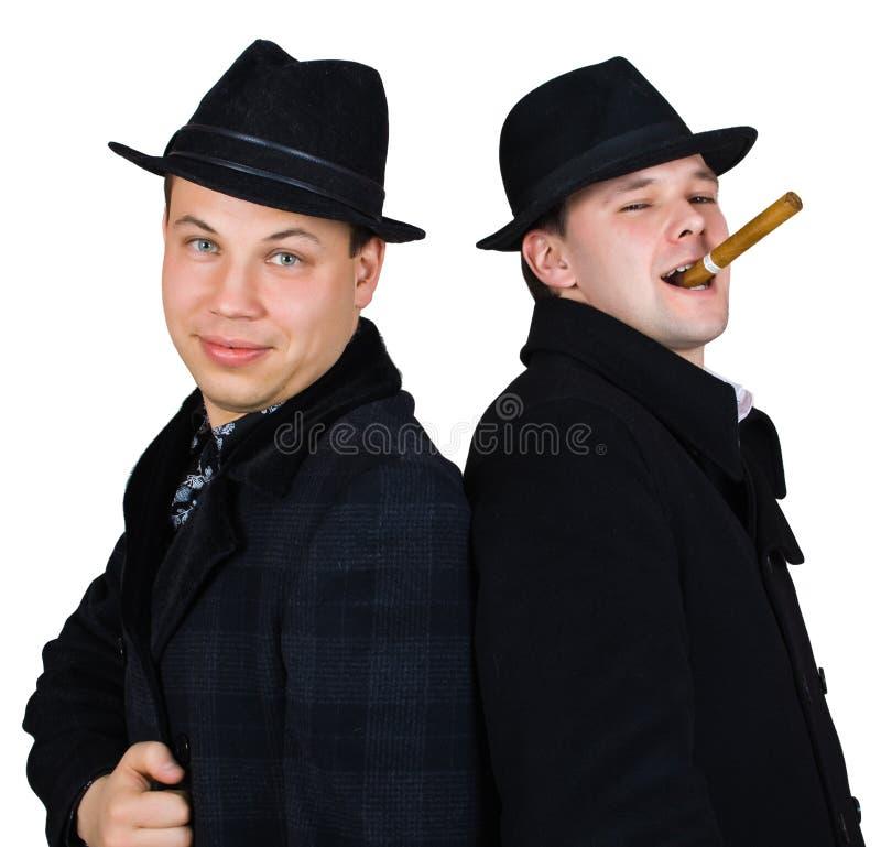 Männer im Hut mit Zigarre stockbilder