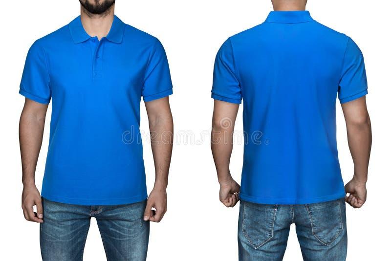 Männer im leeren blauen Polohemd, in der Front und in der hinteren Ansicht, weißer Hintergrund Entwerfen Sie Polohemd, -schablone stockfotos