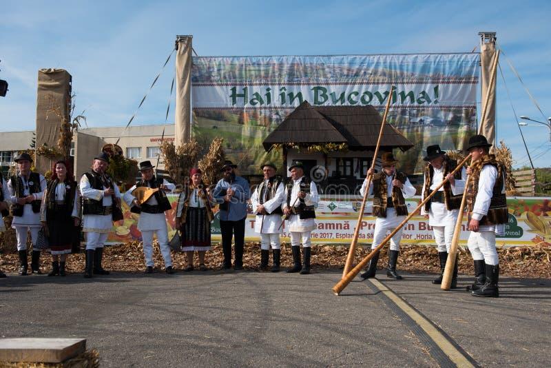 Männer im traditionellen Kostüm, das auf alpinen Hörnern spielt lizenzfreie stockbilder