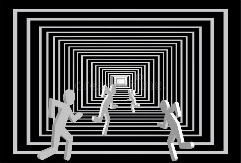 Männer im Tunnel. Leutekonkurrenz. lizenzfreie abbildung