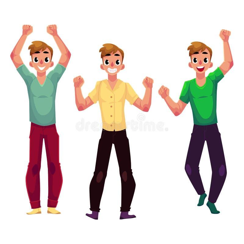 Männer, Jungen, Kerle, Freunde, die, jubelnd, zusammenpressende Fäuste in der Aufregung sich freuen zu stock abbildung