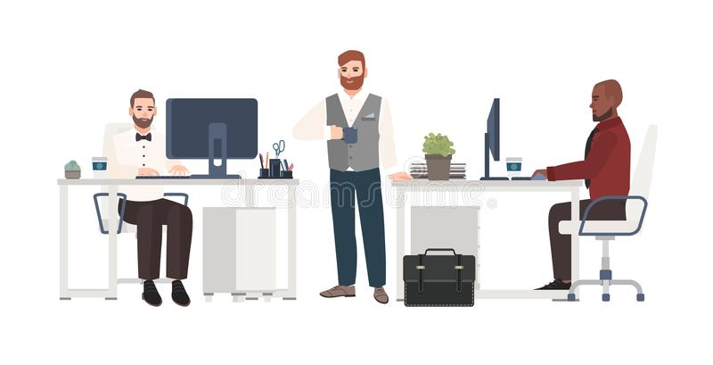Männer kleideten in der Geschäftskleidung an, die im Büro arbeitet Männliche Zeichentrickfilm-Figuren, die stehen, trinkender Kaf stock abbildung